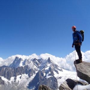Mountaineering with a guide