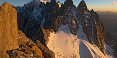 A picture from Charmoz Grepon Traverse at sunset by Jon Griffith