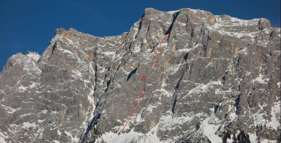 """Optimist"" first ascent 1300m/M6 in Zugspitz"