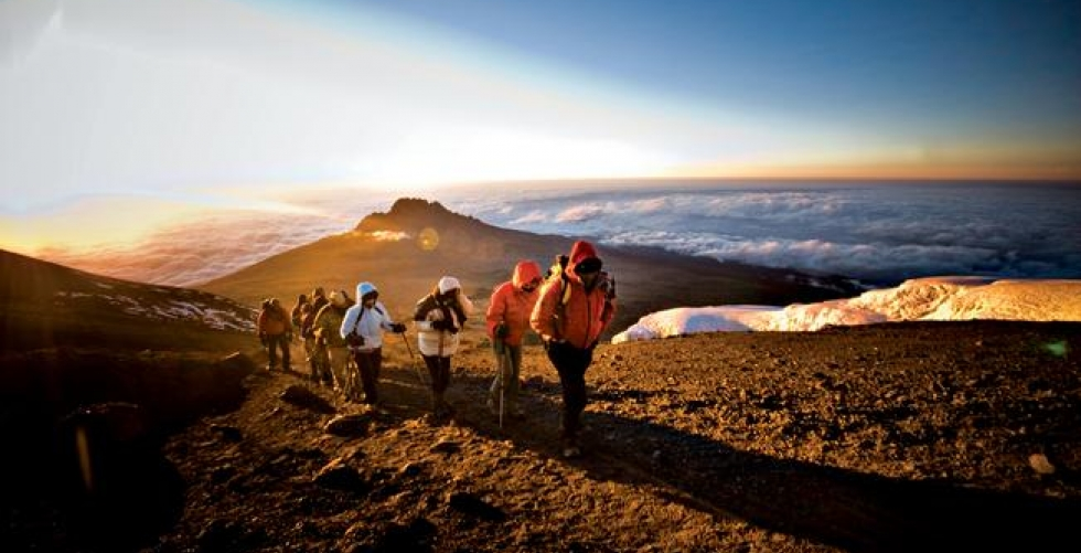 Climbing Kilimanjaro summit sunrise  in Kilimanjaro / Uhuru/Kibo Peak
