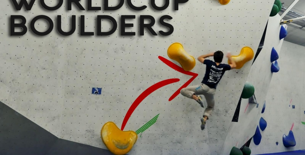 Checking out Worldcup Boulders at the E4 in E4 Kletterhalle